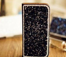 CRYSTAL BLING LEATHER IPHONE CASE - ALL DIAMOND YX001